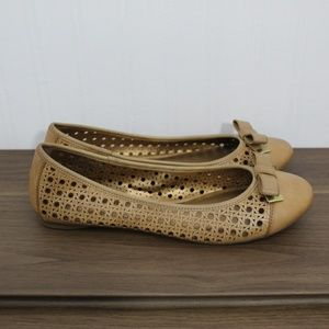 Kelly & Katie Tan Flats With Gold Bow Detail